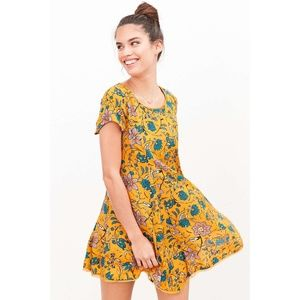 UO | Silence + Noise Mustard Floral Print Dress